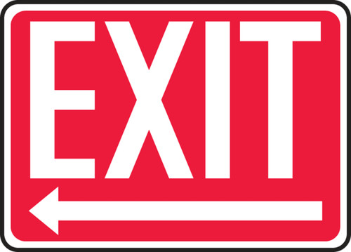 Exit (Arrow Left) - Adhesive Dura-Vinyl - 10'' X 14'' 1