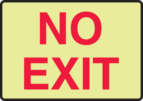 No Exit Red On Glow Sign