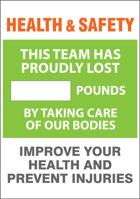 Work Healthy Write A Day Pounds Lost Scoreboard Aluminum- Team