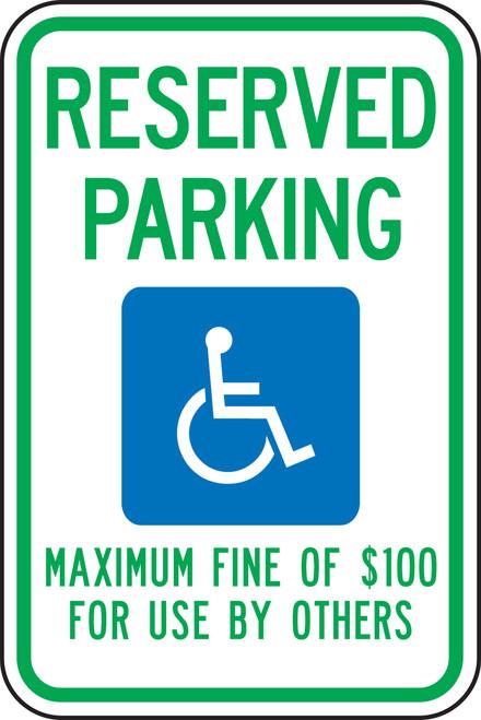 Nevada Handicap Reserved Parking Maximum Fine Of $100