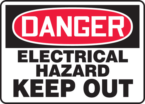 Danger - Electrical Hazard Keep Out - Plastic - 10'' X 14''