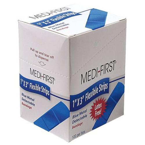 Blue Metal Detectable Strip Bandages 24 per boxes per case