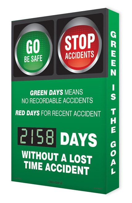 Digi Day 2 Electronic Safety Scoreboard- Green Days  Accuform SCG158