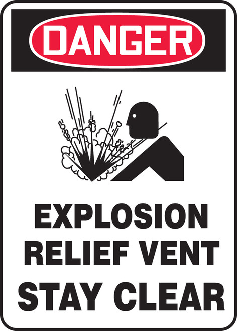 Danger - Danger Explosion Relief Vent Stay Clear W/Graphic - Dura-Plastic - 14'' X 10''