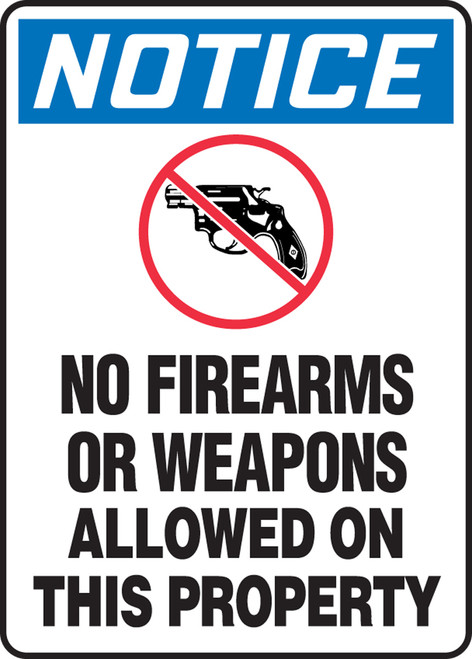 Notice - No Firearms Allowed On This Property (W/Graphic) - Re-Plastic - 14'' X 10''
