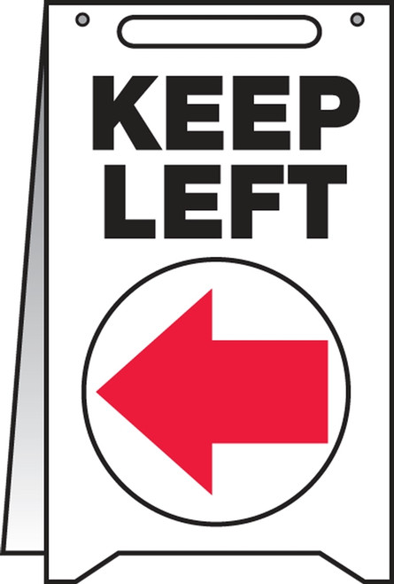 Keep Left Fold Up Sign (w/graphic)