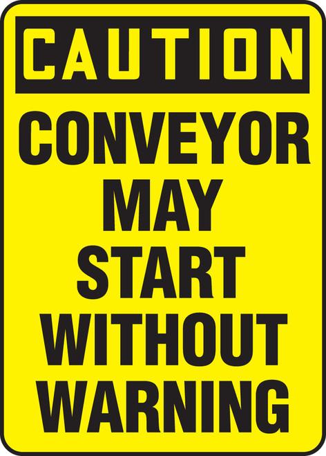 Caution - Conveyor May Start Without Warning - Adhesive Dura-Vinyl - 14'' X 10''