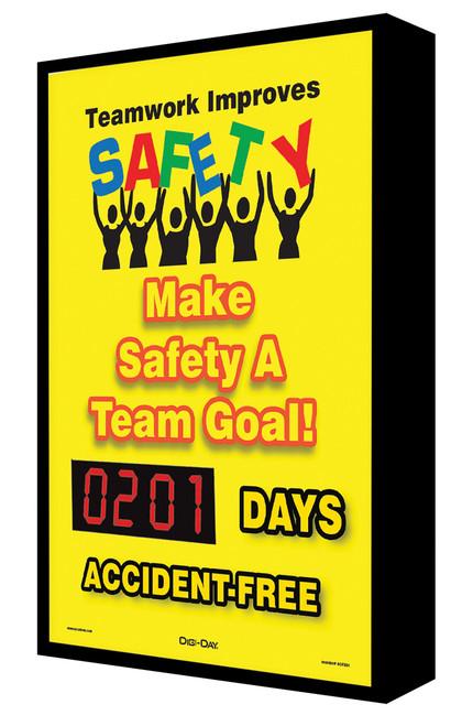 Digi Day Backlit Electronic Safety Scoreboard- LED-Lite- Teamwork SCF201