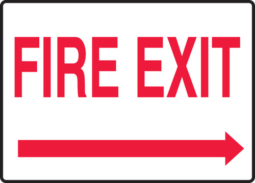 Fire Exit (Arrow Right) - Dura-Plastic - 7'' X 10''