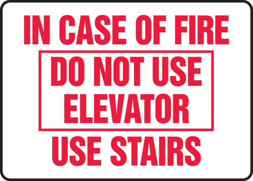 In Case Of Fire Do Not Use Elevator Use Stairs Sign