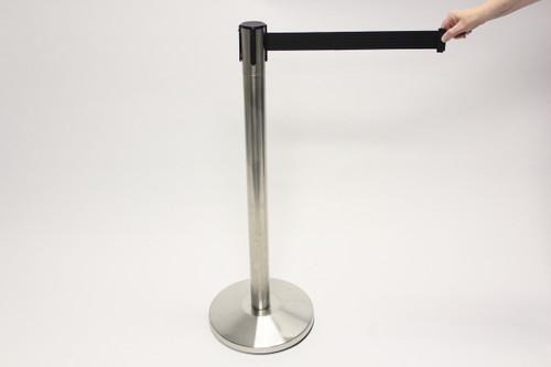 Blockade Retractable Belt Tape Barriers- Brushed Steel Post and Black Belt Tape (Indoor)
