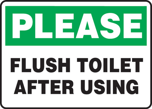Please Flush Toilet After Using - Adhesive Vinyl - 10'' X 14''
