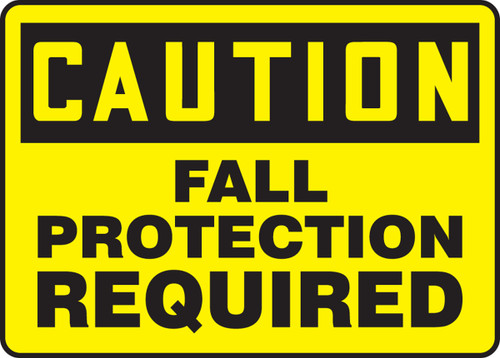 Caution - Fall Protection Required - Re-Plastic - 10'' X 14''