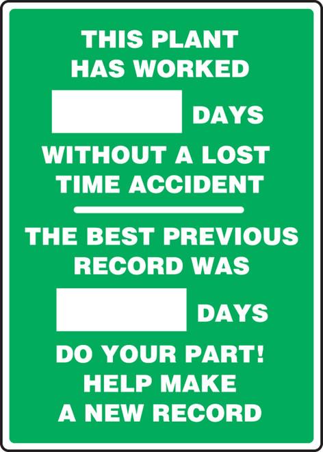 Write A Day Safety Scoreboard 28 x 20 Plastic 6