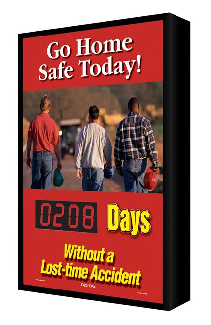 Digi Day Electronic Safety Scoreboard-Backlit LED Lite- Go Home Safe Today! SCF208