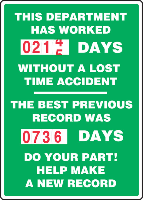 Turn A Day Safety Scoreboards- Double Dial