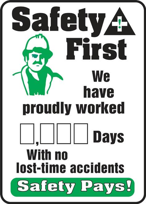 Write A Day Safety Scoreboard 36 x 24 Aluminum