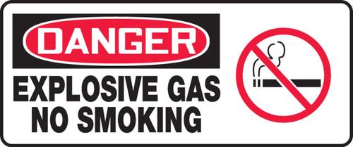 Danger - Explosive Gas No Smoking (W/Graphic) - Re-Plastic - 7'' X 17''