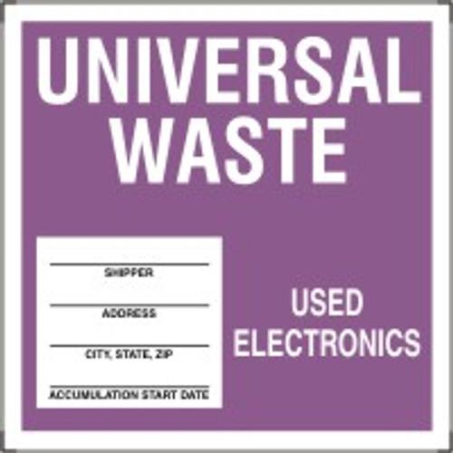 "Universal Waste - Used Electronics- 6"" X 6"" - 25/pkg"
