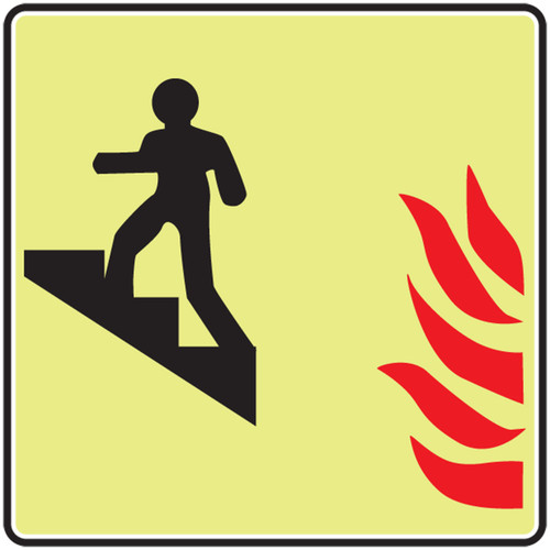 Use Stairs Up Sym With Flame Glow Sign