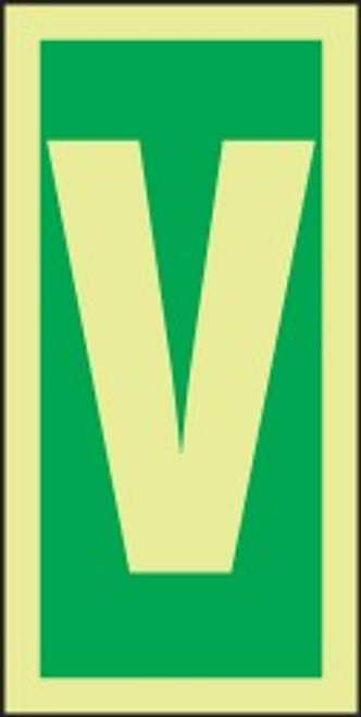 "Letter V IMO Character 6"" x 3"" Dura Lumi-Glow Adhesive"
