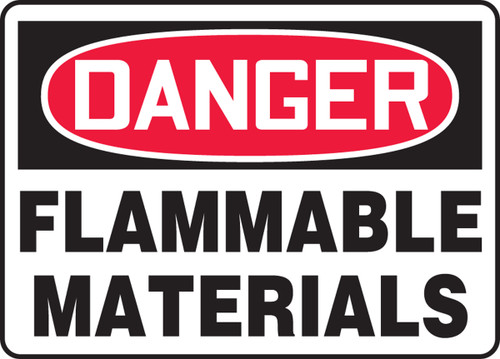 Danger - Flammable Materials - Adhesive Vinyl - 10'' X 14''
