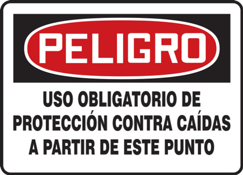 Danger - Fall Protection Required Beyond This Point - Adhesive Dura-Vinyl - 10'' X 14''
