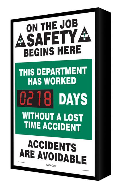 Digi Day Electronic Safety Scoreboard- Backlit LED Lite- On the Job Safety  SCF218