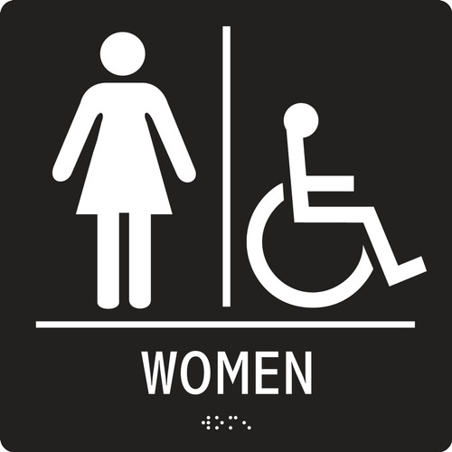 Women Restroom and Access ADA Braille Sign