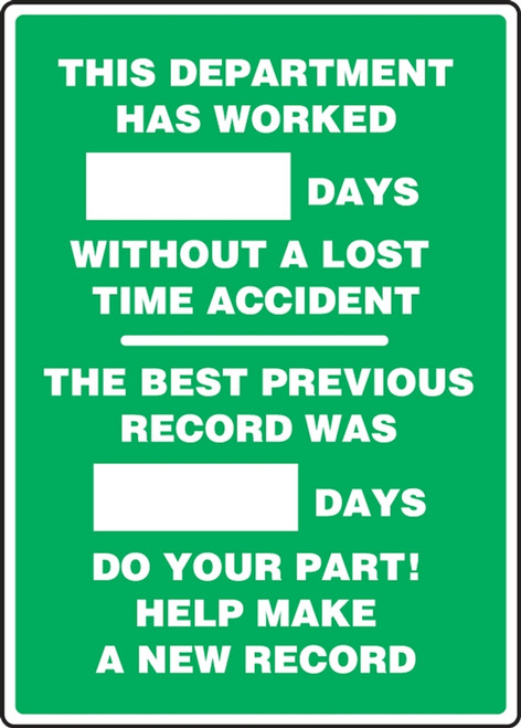 Write a Day Safety Scoreboard 20x14 Aluminum