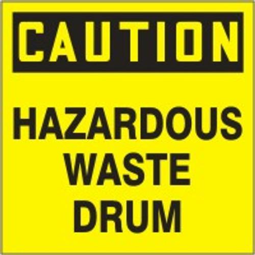 """Caution Hazardous Waste Drum Labels- 6"""" X 6"""" 25/pkg"""