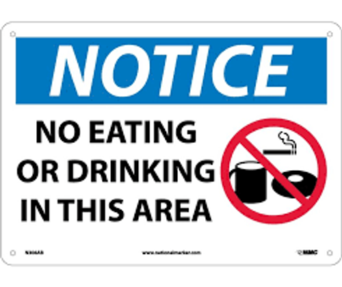 No Eating Or Drinking - .040 Aluminum - 6''