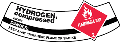Hydrogen, Compressed Flammable Gas Danger Keep Away From Heat, Flame or Sparks