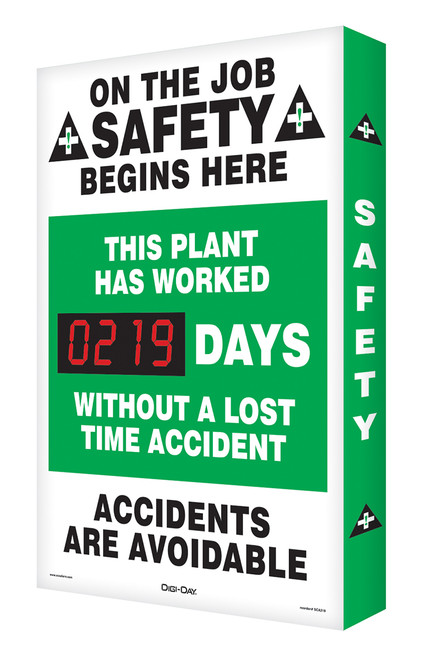 Electronic Safety Scoreboard- Digi Day- This Plant Has Worked Accuform SCA219