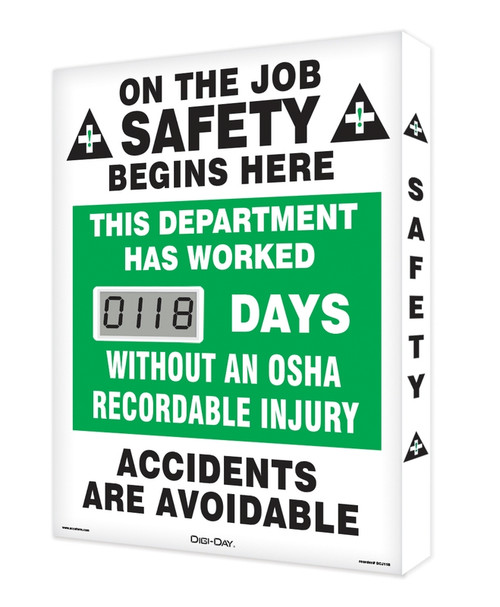Digi Day Lite Electronic Safety Scoreboard- Accuform SCJ118