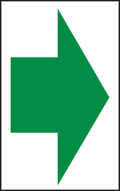 Arrow (Green Arrow On White) - Dura-Plastic - 7'' X 5''