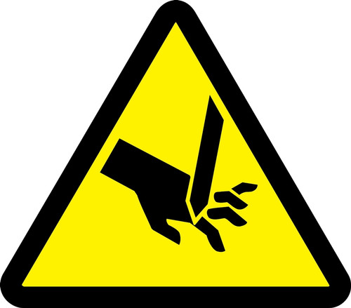 Cut Or Sever Hazard - .040 Aluminum - 6''