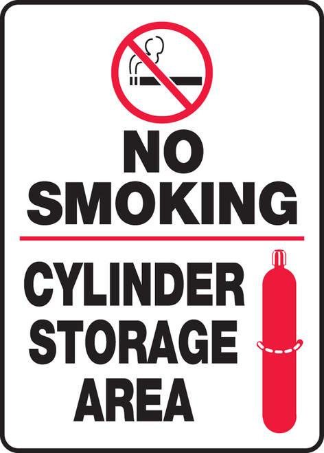 No Smoking Cylinder Storage Area (W/Graphic) - Plastic - 14'' X 10''