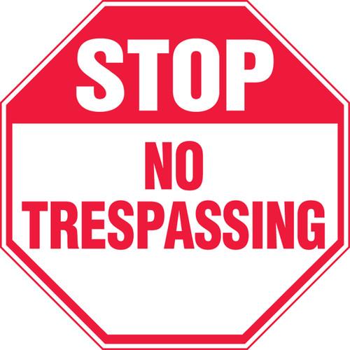 Stop - No Trespassing - Adhesive Vinyl - 12'' X 12''