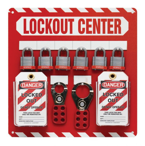 Lockout Center Board- 6 Padlock Board