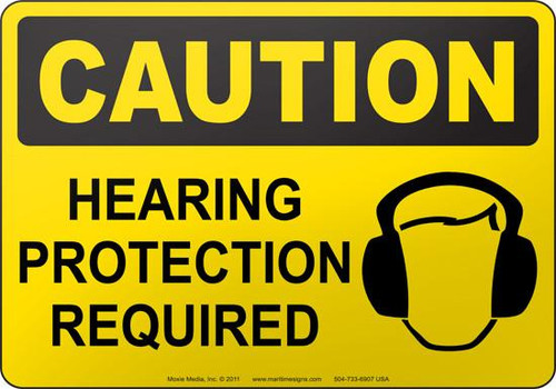 Wear Hearing Protection - Plastic - 6''