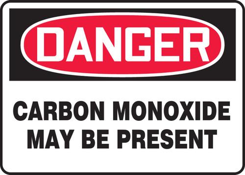 Danger - Carbon Monoxide May Be Present - Plastic - 10'' X 14''