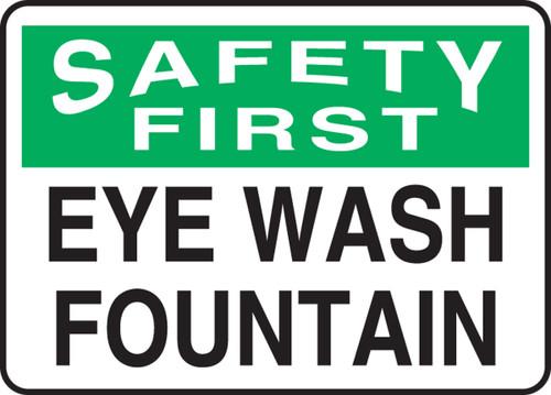 Safety First - Eye Wash Fountain - Adhesive Vinyl - 10'' X 14''