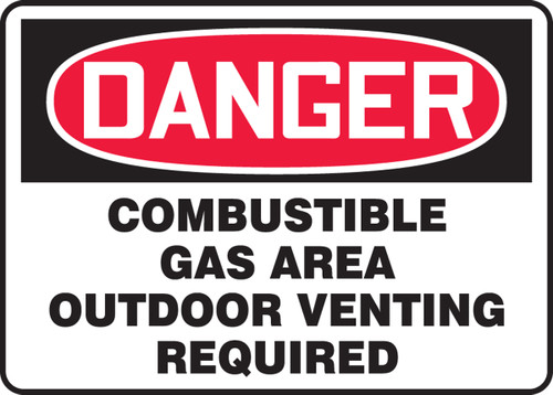 Danger - Danger Combustible Gas Area Outdoor Venting Required