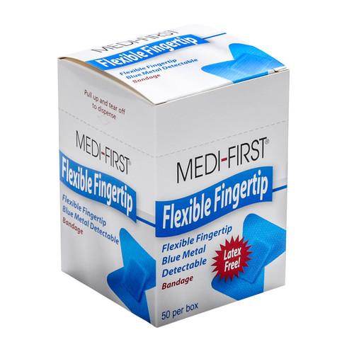 Blue Metal Detectable Fingertips Bandages 50 per box