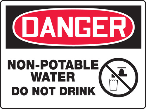Danger - Non-Potable Water Do Not Drink (W/Graphic) - Re-Plastic - 18'' X 24''
