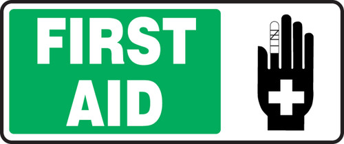 """First Aid Sign w/ graphic  7"""" x 17"""" Plastic"""