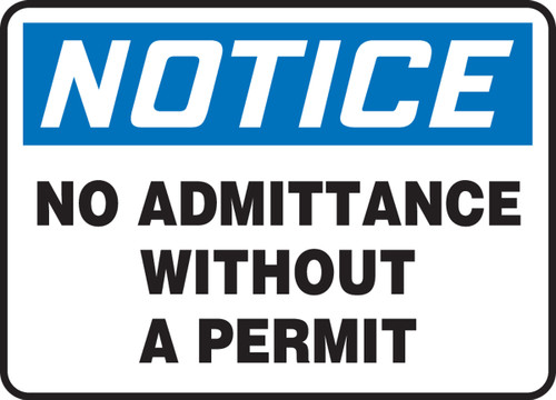 Notice no admittance without a permit sign MADM800XP