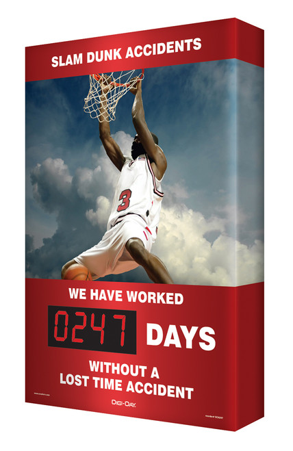 Digi Day Safety Scoreboard- Slam Dunk Accidents - Accuform SCA247