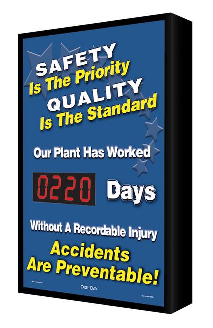 Digi Day Electronic Safety Scoreboard- Backlit- Safety is the Priority SCF220